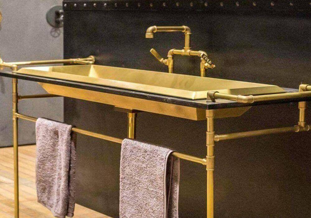 סט תואם ברז וכיור לאמבטיה צבע צהב
