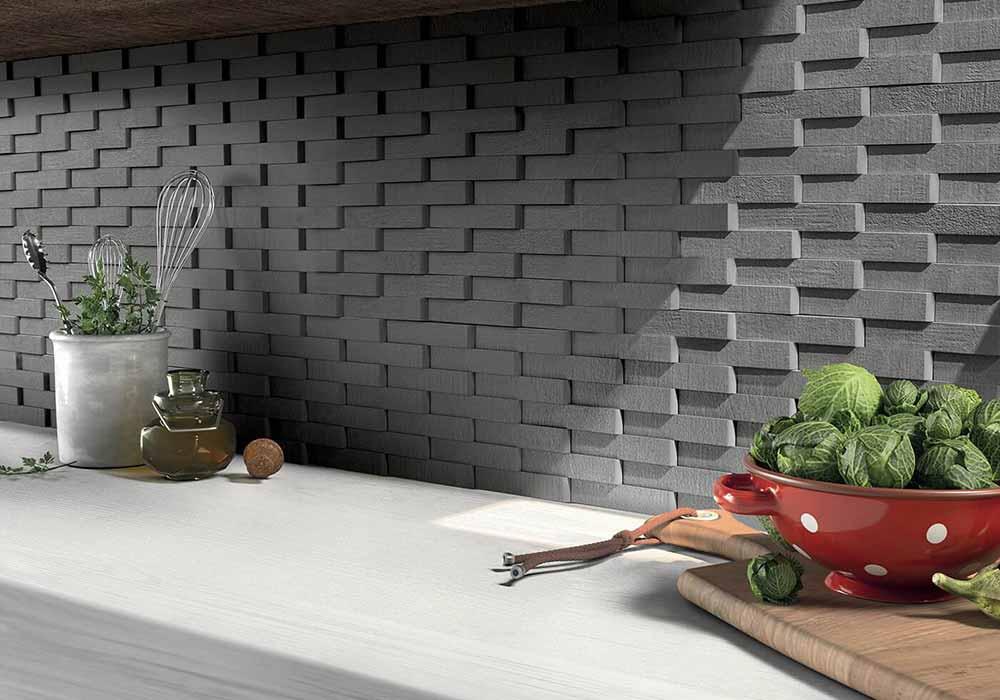 חיפוי קיר דמוי לבנים תלת מימד למטבח