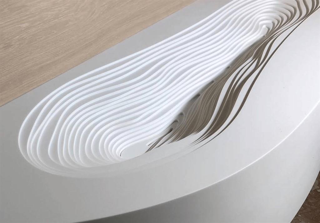 כיור בעיצוב ייחודי מקוריאן לבן לחדר האמבטיה