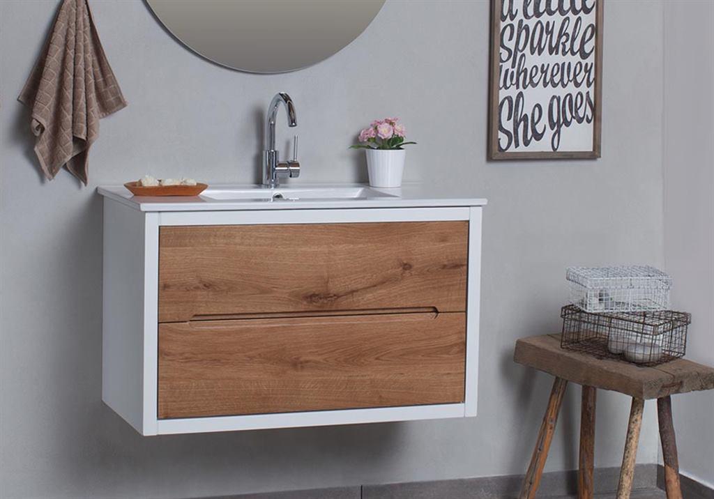ארון אמבטיה עץ עם מסגרת לבנה עם כיור אינטגראלי