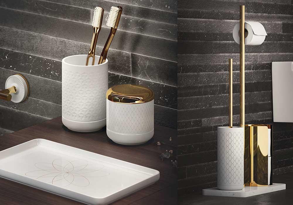סט אביזרי אמבטיה זהב עם לבן
