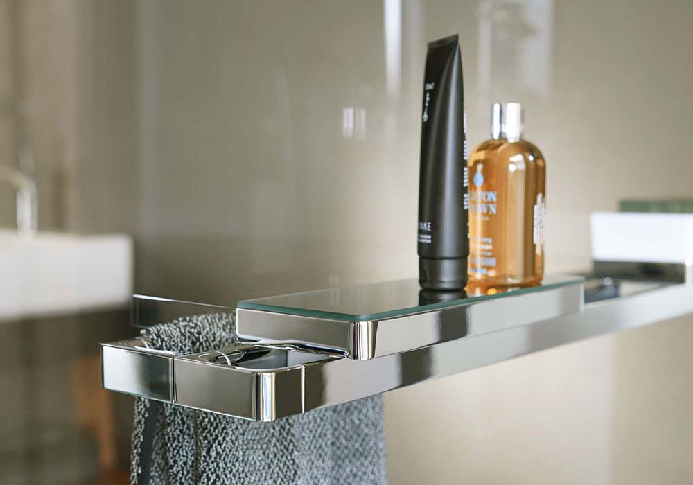 מדף כסף בשילוב זכוכית לחדר האמבטיה