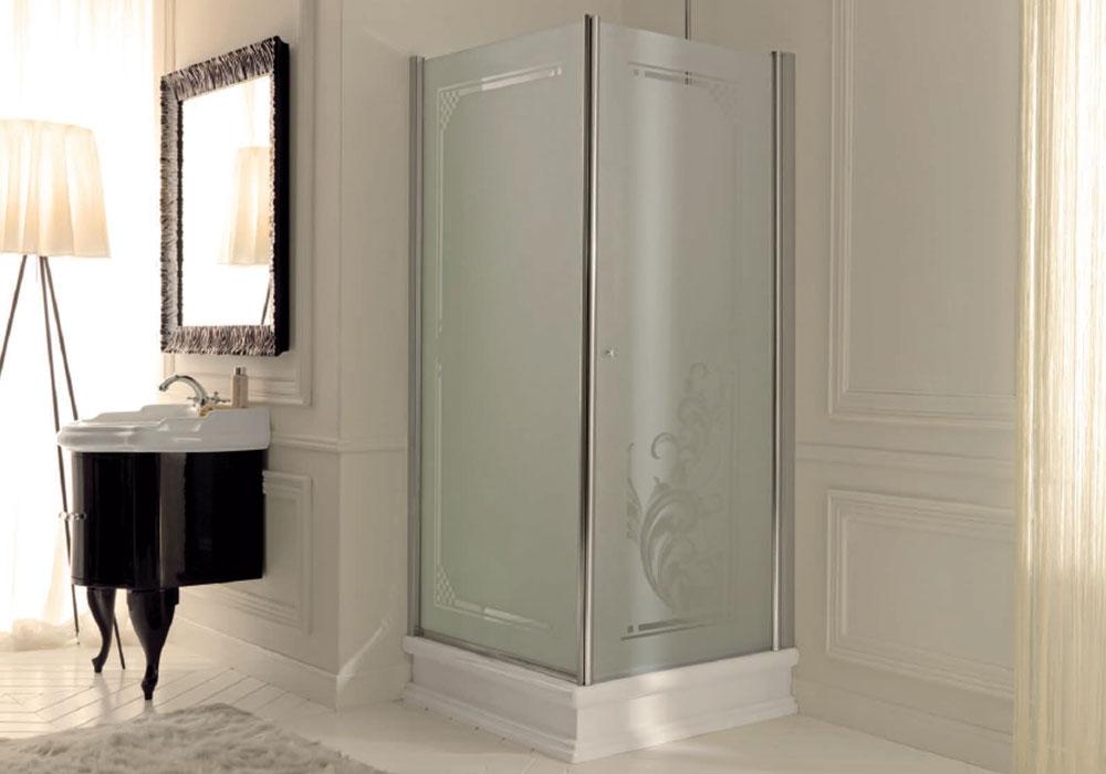 מקלחון פינתי בעיצוב רטרו- זכוכית חלבית עם הדפס
